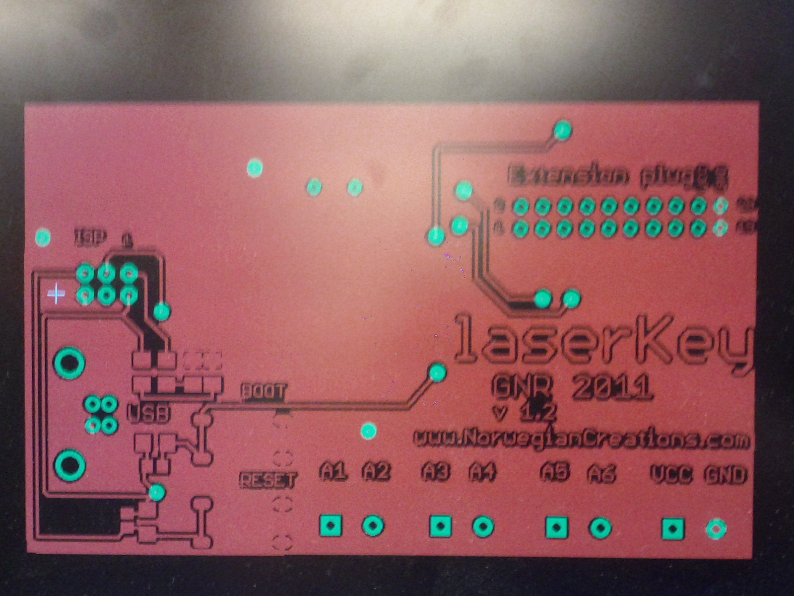 The top layer of the circuit board (Picture taken of the print computer's screen)