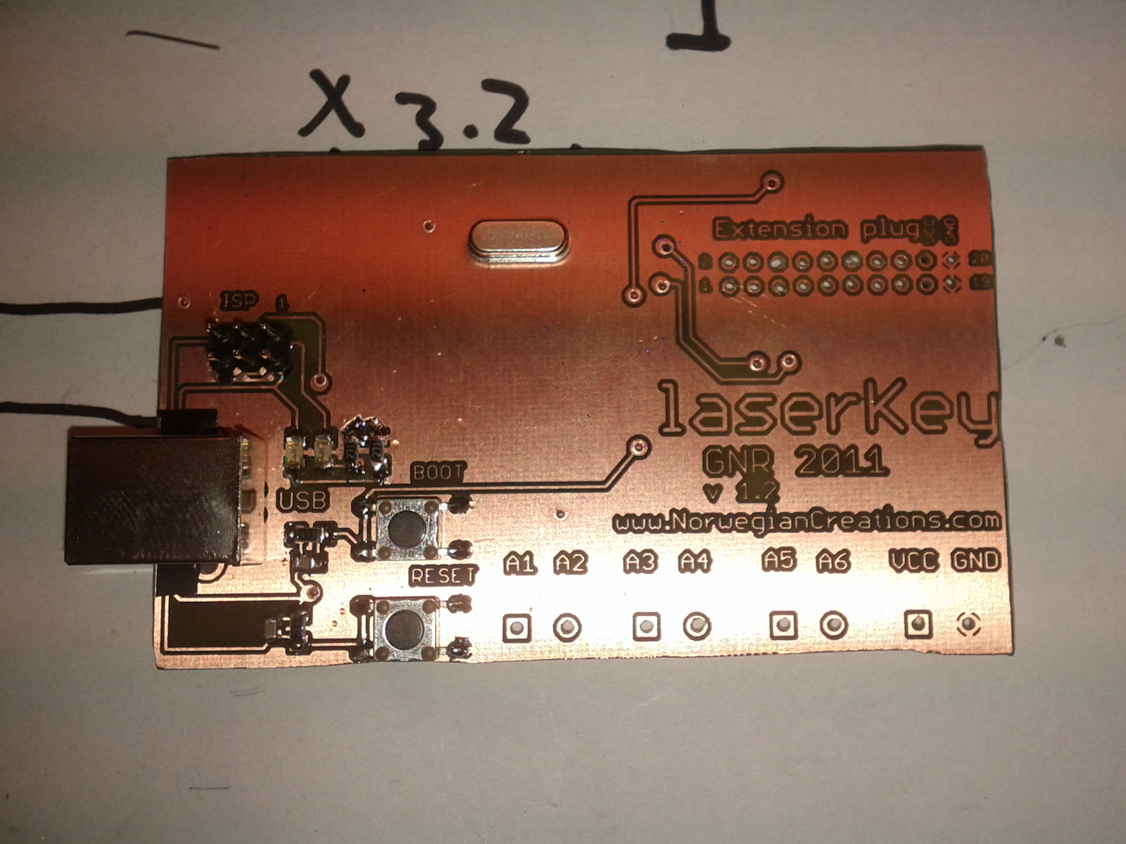 Soldered on the necessary components to test the MCU and USB (Top of the PCB)
