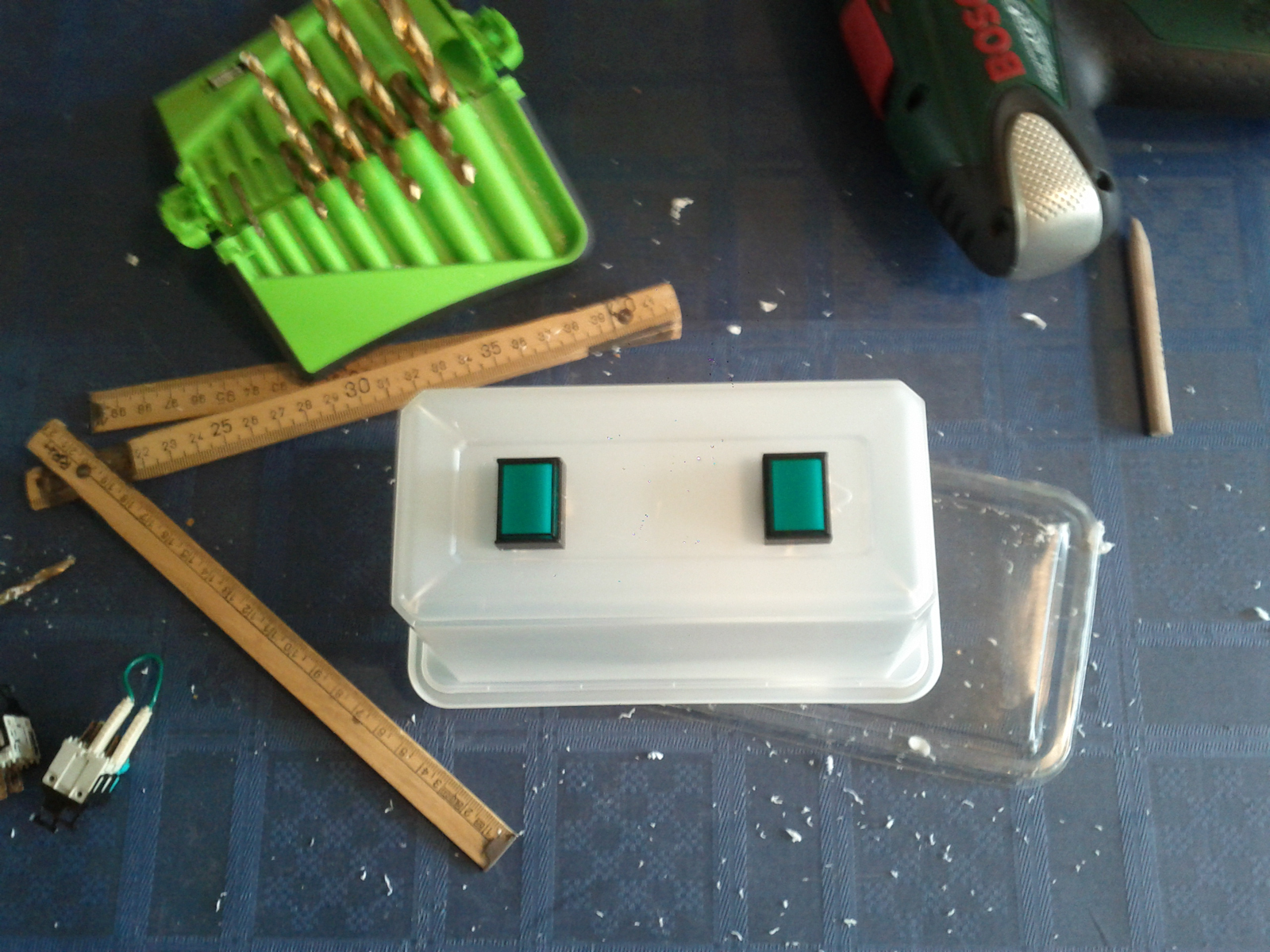 Holes to switches drilled out