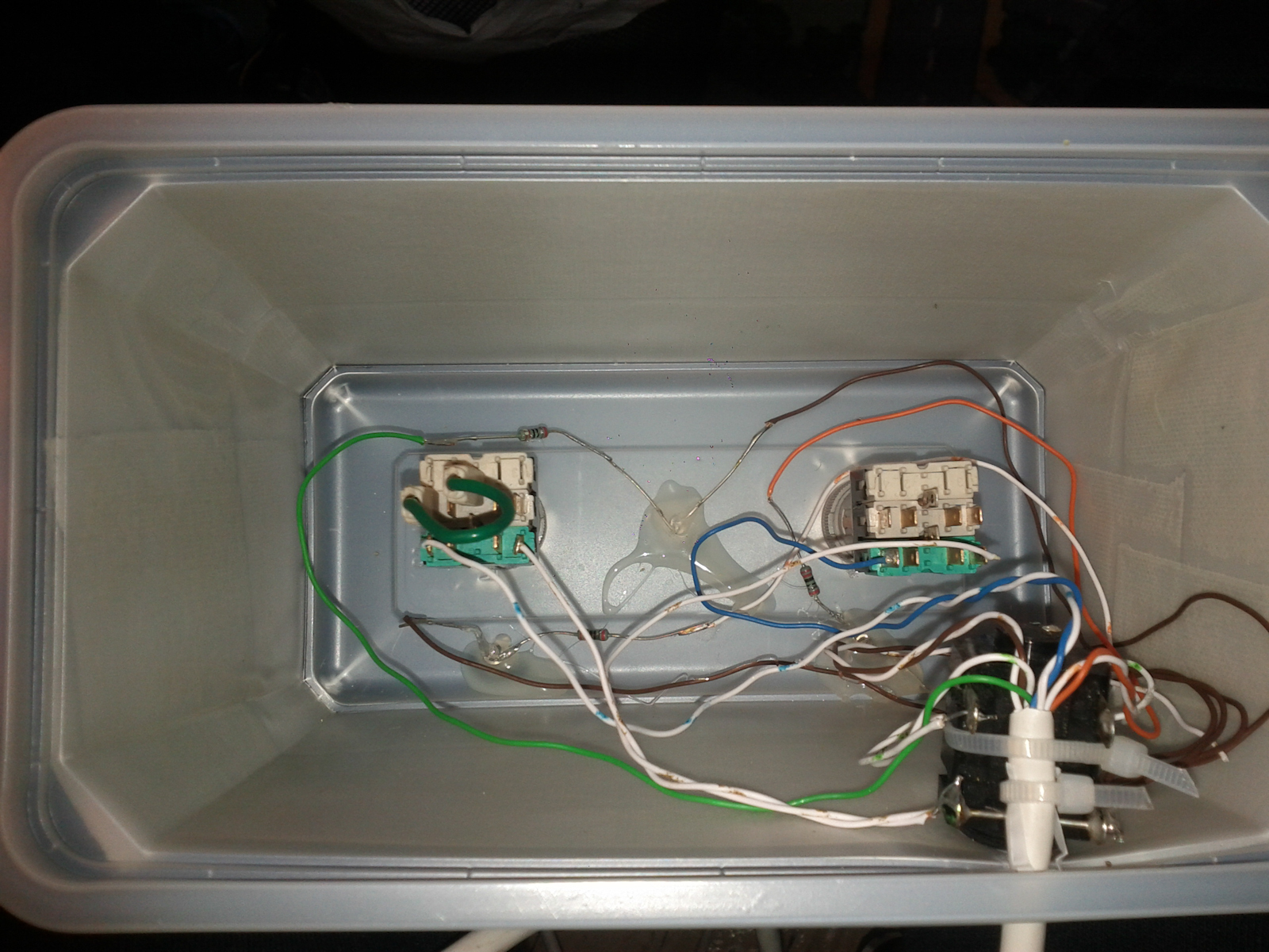 Finished soldering inside the box