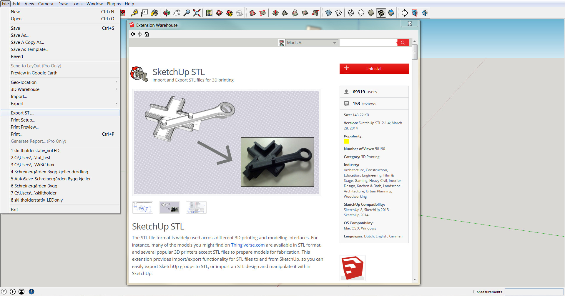 Tutorial using free sketchup software for 3d printing for Sketchup import stl