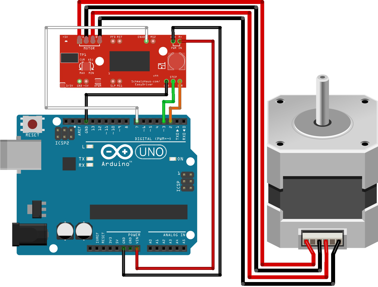 The wiretable for Arduino EasyDriver Stepper motor tutorial