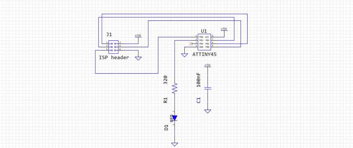 A supersimple MCU circuit with a LED.