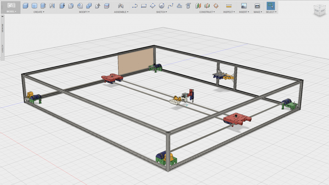 A screenshot of the CAD model of the plotter we made for Trondheim Maker Faire 2014