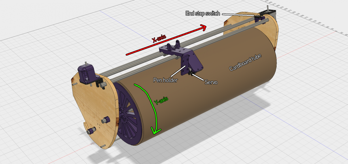 A CAD screenshot of the front of the machine. The purple parts are all 3D-printed.