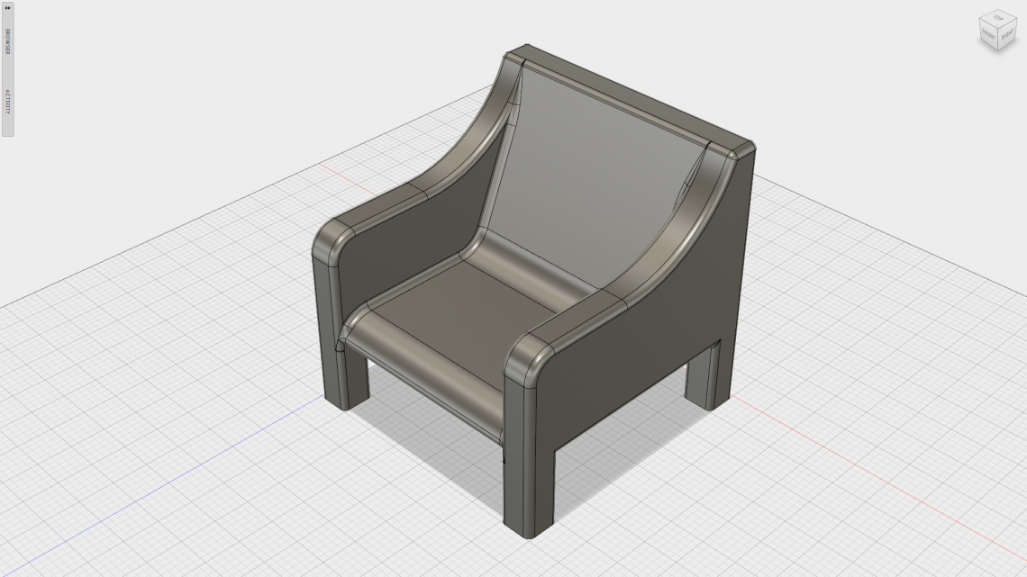 A quick chair modelled in Fusion 360 to be used as an example