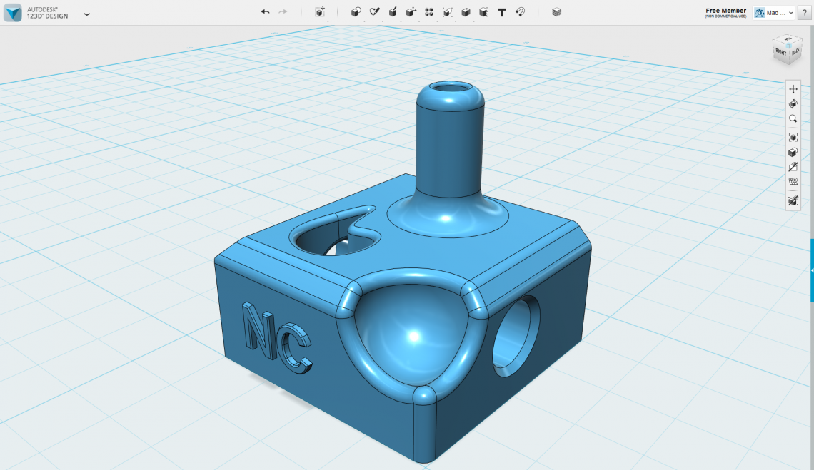 A very quick nonsense-model made in 123D Design using many different tools.