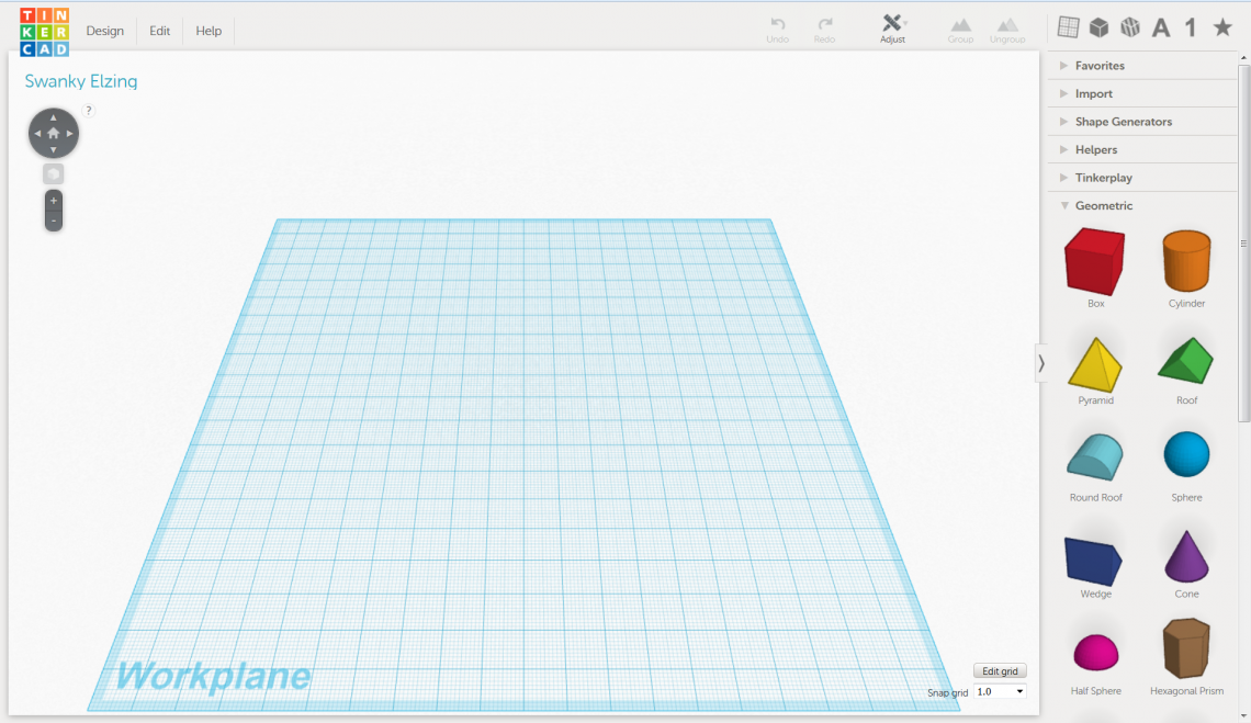 The default view of Tinkercad