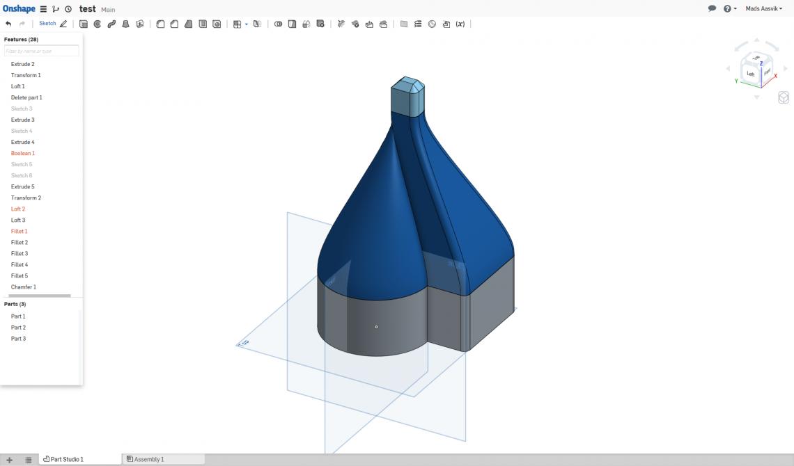 Onshape's main editor window. Testing the Loft tool.