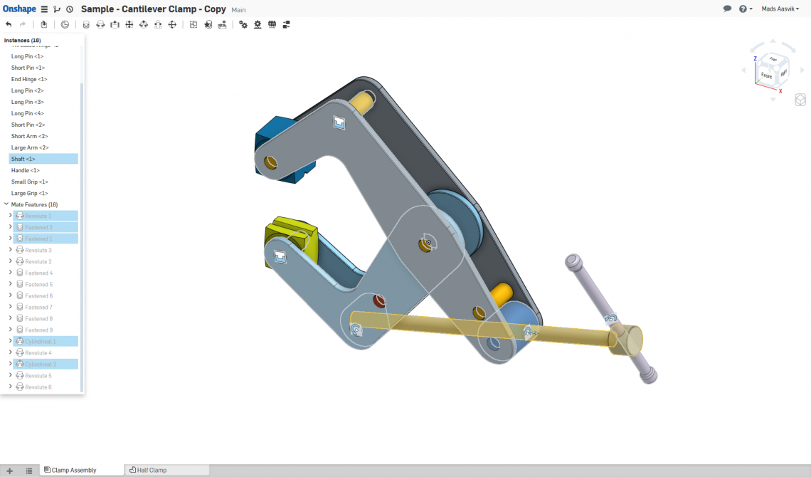 Testing motion study with a sample model of a cantilever clamp.