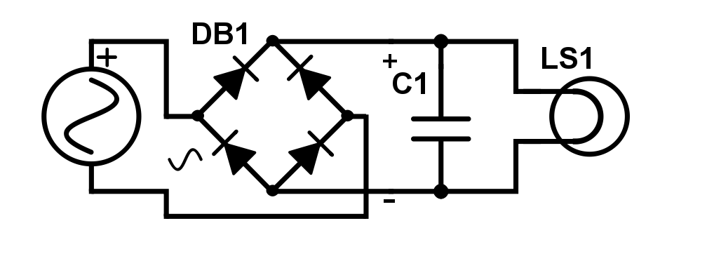 A diode bridge (DB1) which convertsan AC signal to a DC signal. A capacitor (C1) smooths out the DC signal.