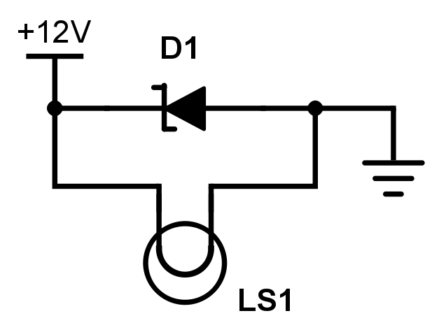 A zener diode (D1) protecting a lamp (LS1) from voltage peaks.