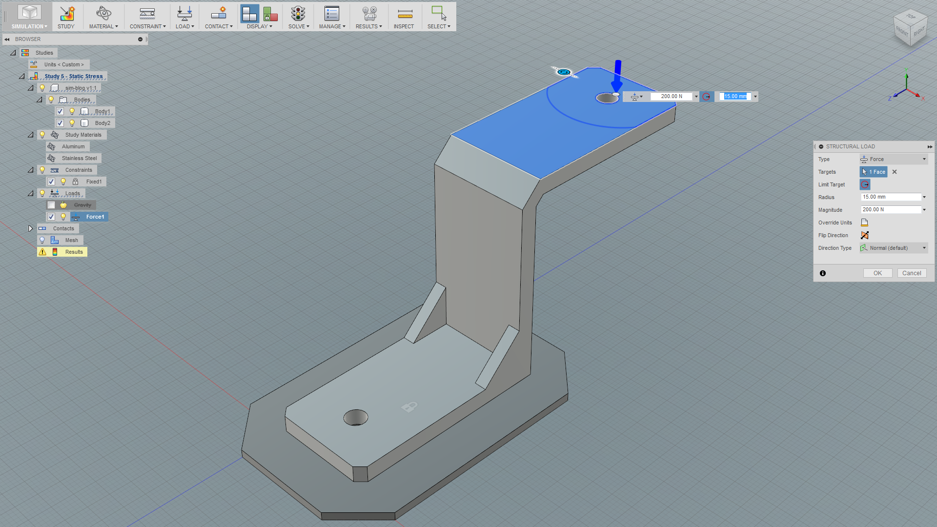 Basic Static Stress Simulation in Fusion 360