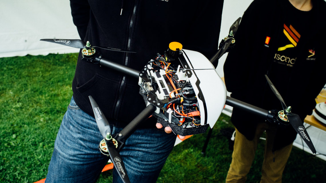 The drone with half of the casing taken off.