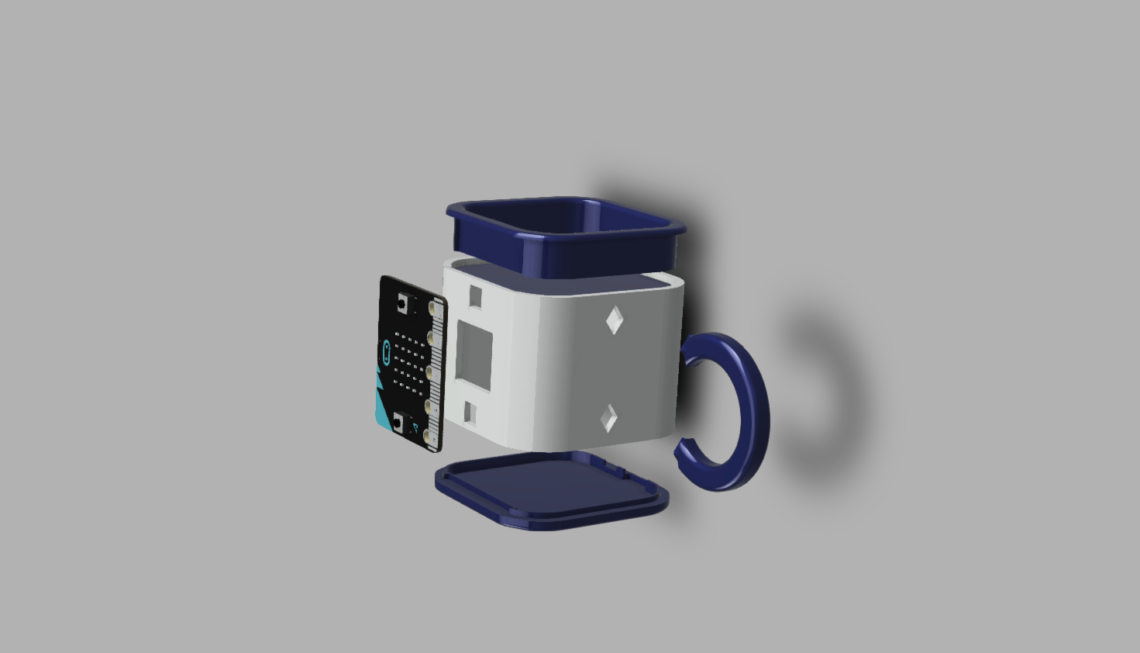 An exploded view of the mug