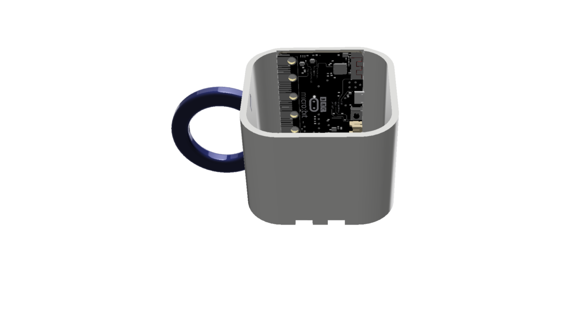 The fitting of the micro:bit on the inside of the mug