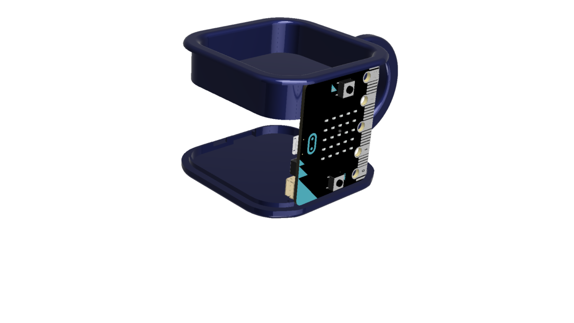 Picture showing how the top and bottom lids provide support for the micro:bit