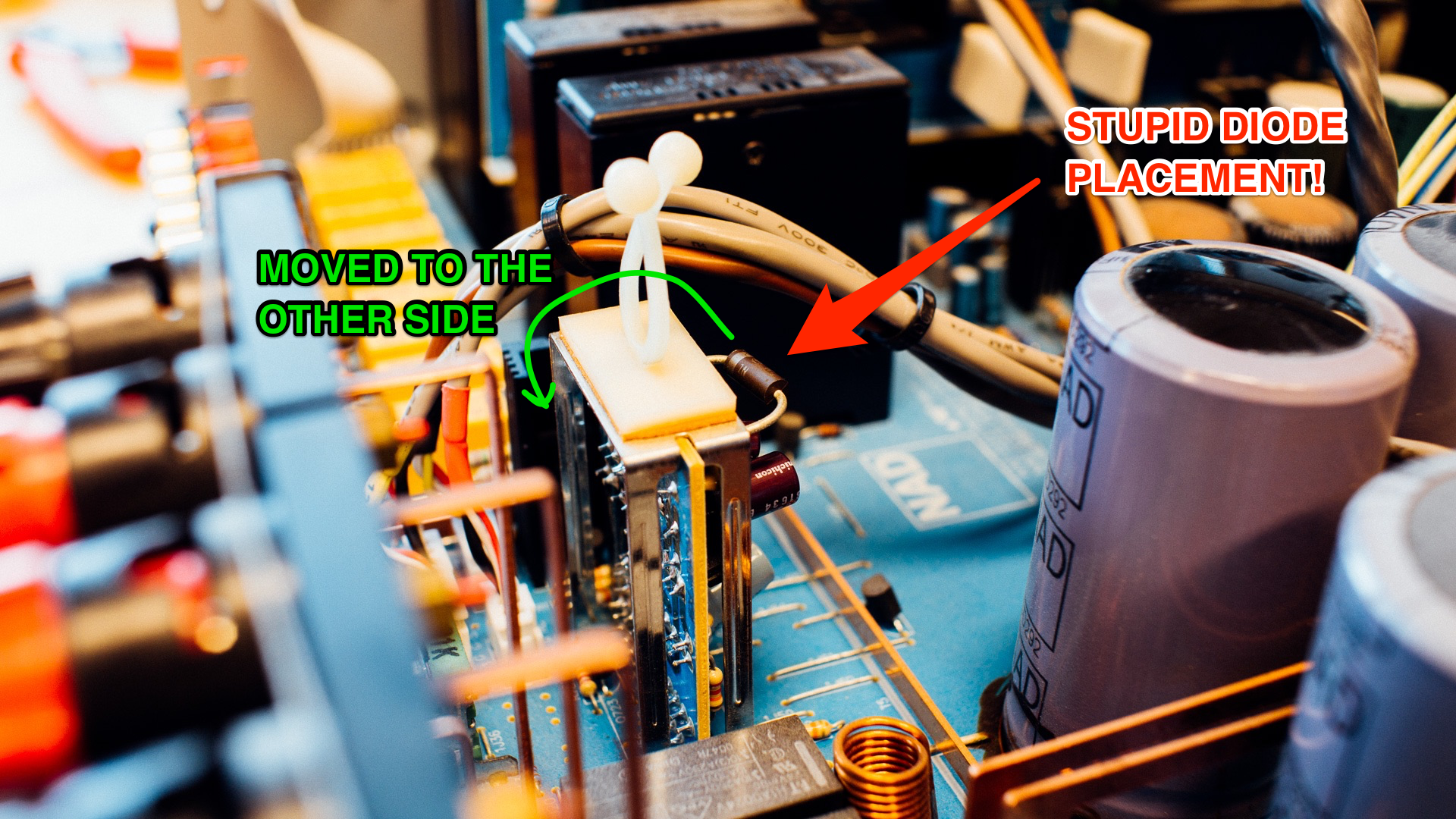 Repairing A Nad C370 Amplifier The Slow Start Protection Module Loudspeaker With Soft We Moved Rather Stupidly Placed Zener Diode To Other Side Of Pcb So It Has Harder Time Heating Up And Damaging Necessary
