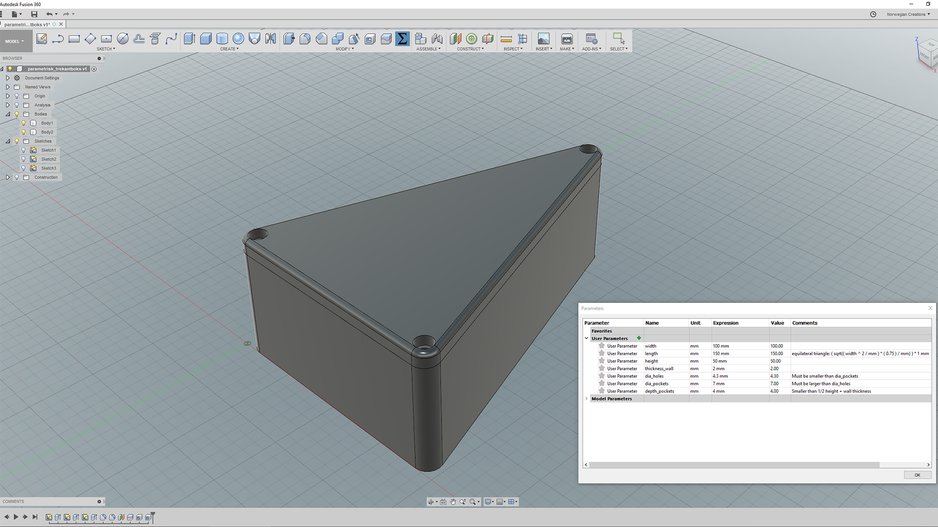 Parametric Modelling in Fusion 360 – Making a Triangle Box
